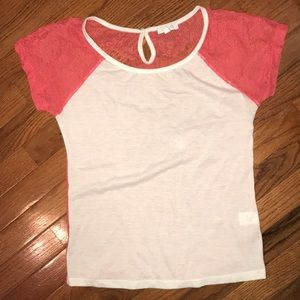 Delia's short sleeved salmon and cream top